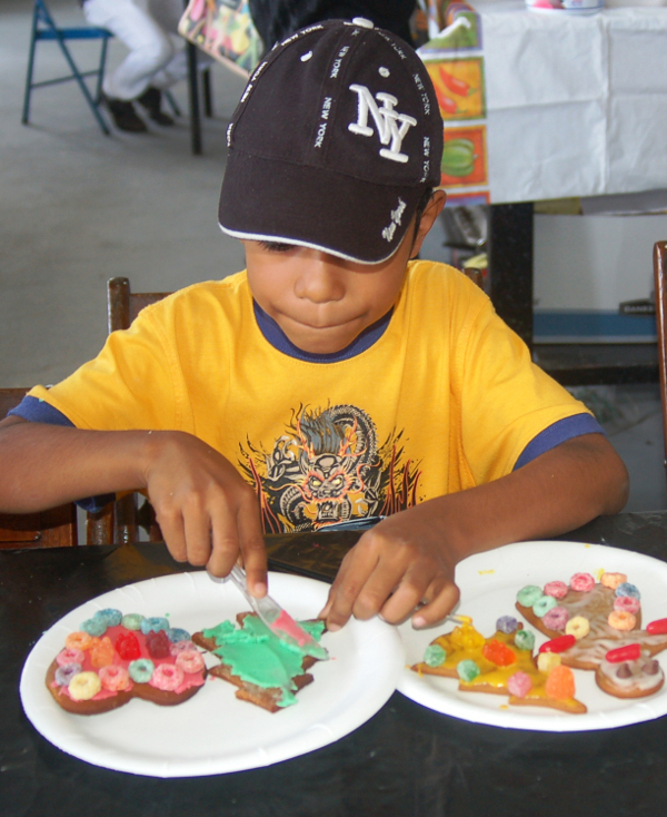 Boy Decorating Christmas Cookie